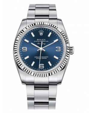 Rolex Air-King Blanc Or Fluted Lunette Bleu Cadran114234 BLAO