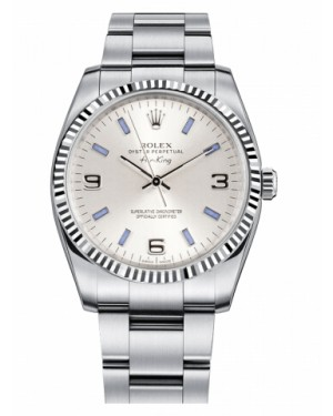 Rolex Air-King Blanc Or Fluted Lunette Argent rond Cadran114234 SBLIO