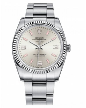 Rolex Air-King Blanc Or Fluted Lunette Argent Cadran114234 SPIO