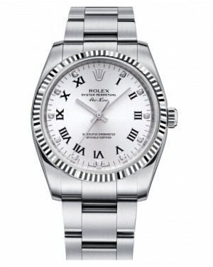 Rolex Air-King Blanc Or Fluted Lunette Blanc Cadran114234 WDO