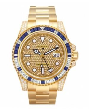 Rolex GMT Master II Jaune Or Pave diamant Cadran116758 SAPAVE