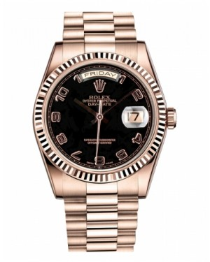 Rolex Day Date Rose Or Noir Cadran118235 BKAP