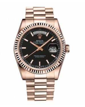 Rolex Day Date Rose Or Noir Cadran118235 BKSP