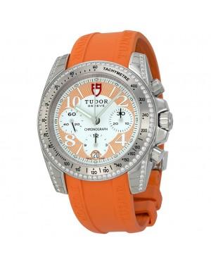 Tudor Chronographe Cadran Diamant Orange Caoutchouc Dames 20310-WOASORS