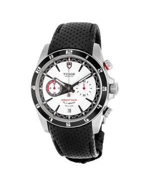 Tudor Grantour Cadran Blanc Noir Cuir Hommes 20550N-WMCPL