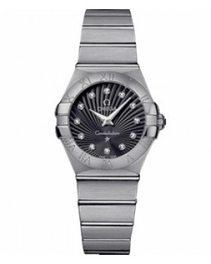 Omega Constellation 27mm Constellation Pollished Quartz Cadran Noir Dames 123.10.27.60.51.002