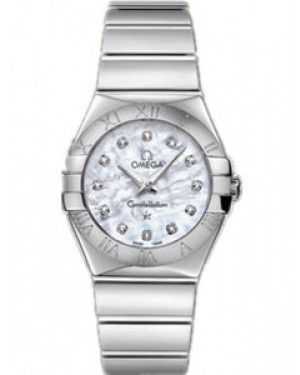 Omega Constellation 27mm Constellation Polished Quartz Blanc Mere de Perle Dames 123.10.27.60.55.002