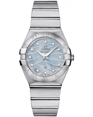 Omega Constellation Quartz Blue Mere de Perle Diamant Cadran Dames 123.10.27.60.57.001