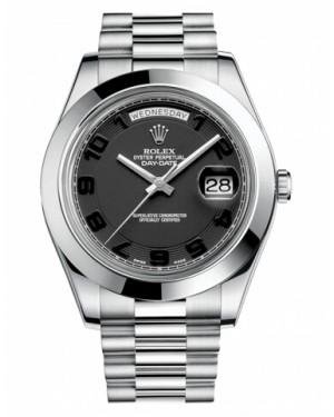 Rolex Day Date II President Platine Noir concentric Cadran218206 BKCAP