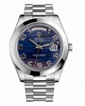 Rolex Day Date II President Platine Bleu wave Cadran218206 BLWAP