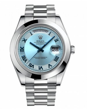 Rolex Day Date II President Platine Glace Bleu concentric Cadran218206 IBCRP