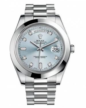 Rolex Day Date II President Platine Glace Bleu Cadran218206 IBLDP