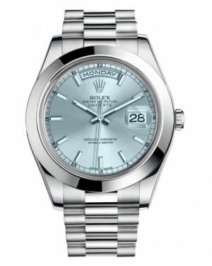 Rolex Day Date II President Platine Glace Bleu Cadran218206 IBLIP