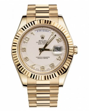 Rolex Day Date II President Jaune Or Ivory concentric circle Cadran218238 ICAP