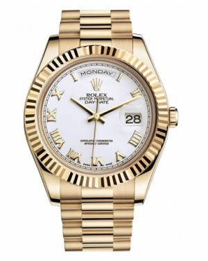 Rolex Day Date II President Jaune Or Blanc Cadran218238 WRP