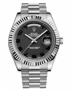 Rolex Day Date II President Blanc Or Noir concentric Cadran218239 BKCAP