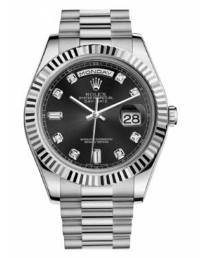 Rolex Day Date II President Blanc Or Noir Cadran218239 BKDP