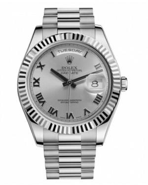Rolex Day Date II President Blanc Or Rhodium Cadran218239 RRP