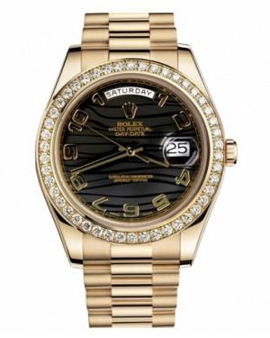 Rolex Day Date II President Jaune Or Noir wave Cadran218348 BKWAP