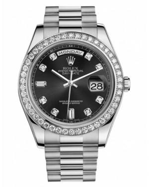 Rolex Day Date II President Blanc Or Et Diamants Noir Cadran218349 BKDP