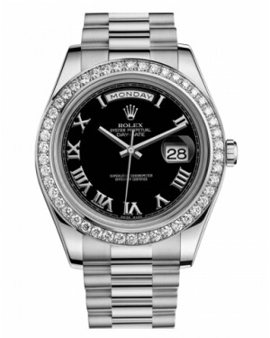 Rolex Day Date II President Blanc Or Et Diamants Noir Cadran218349 BKRP