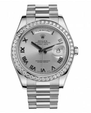 Rolex Day Date II President Blanc Or Et Diamants Rhodium Cadran218349 RRP
