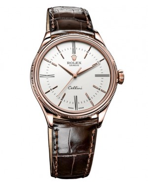 Rolex Cellini Time Everose Gold Blanc Homme 50505
