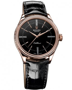 Rolex Cellini Time Everose Gold Noir Homme 50505