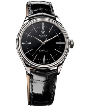 Rolex Cellini Time Or Blanc Noir Homme 50509