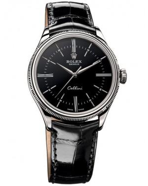 Rolex Cellini Time Or Blanc Noir Homme 50509