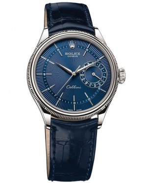 Rolex Cellini Date Or Blanc Bleu Homme 50519