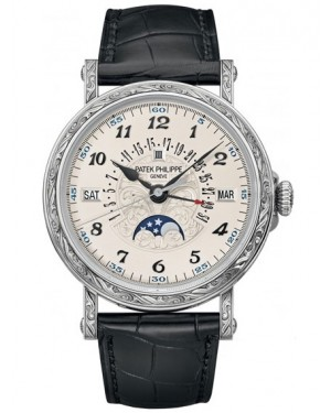 Patek Philippe Grand Complications Calendrier Perpetuel Or Blanc Homme 5160/500G-001