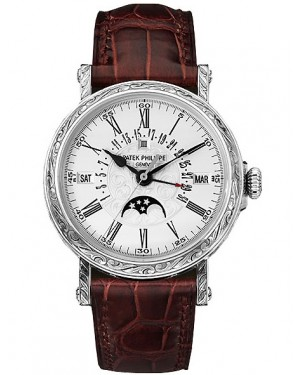 Patek Philippe Calendrier Perpetuel Or Blanc Grave Homme 5160G-001
