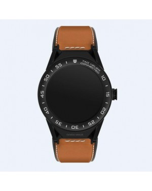 Tag Heuer Connected Modular 45mm Marron Veau Sangle Noir Mat Ceramique Lunette SBF8A8013.82FT6110