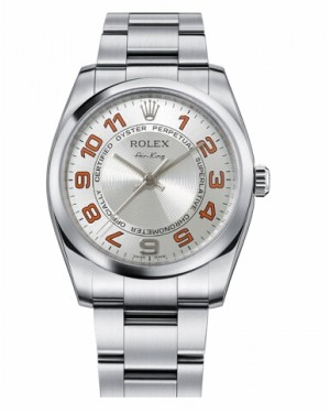 Rolex Air-King Domed Lunette Argent concentric circle Cadran114200 SCAO