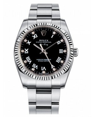 Rolex Air-King Blanc Or Fluted Lunette Noir Cadran114234 BKDRO