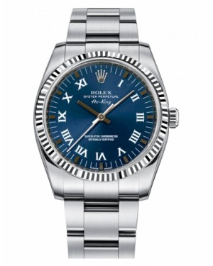 Rolex Air-King Blanc Or Fluted Lunette Bleu Cadran114234 BLRO