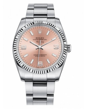 Rolex Air-King Blanc Or Fluted Lunette Saumon Rose rond Cadran114234 PAO