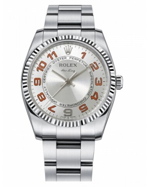 Rolex Air-King Blanc Or Fluted Lunette Argent concentric Cadran114234 SCAO