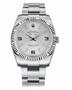 Rolex Air-King Blanc Or Fluted Lunette Argent Cadran114234 SLIO
