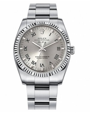 Rolex Air-King Blanc Or Fluted Lunette Argent Cadran114234 SRO
