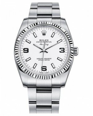 Rolex Air-King Blanc Or Fluted Lunette Blanc Cadran114234 WAO