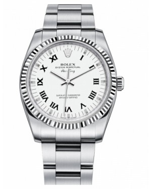 Rolex Air-King Blanc Or Fluted Lunette Blanc Cadran114234 WRO