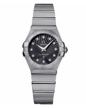 Omega Constellation 27mm Constellation Brushed Quartz Cadran Noir Dames 123.10.27.60.51.001