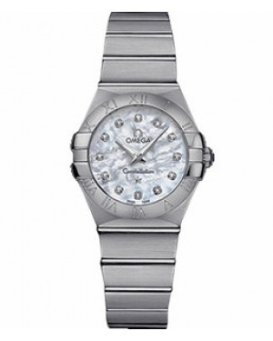 Omega Constellation 27mm Constellation Brushed Quartz Blanc Mere de Perle Dames 123.10.27.60.55.001