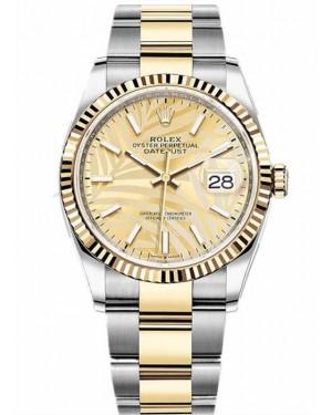 Rolex Datejust 36 Bicolore Palme Or Montre 126233-0038