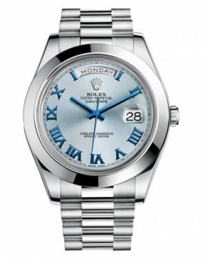 Rolex Day Date II President Platine Glace Bleu Cadran218206 IBLBLRP