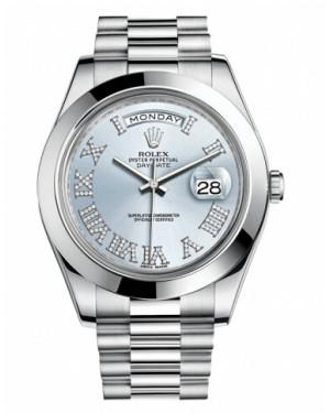 Rolex Day Date II President Platine Glace Bleu Cadran218206 IBLDRP