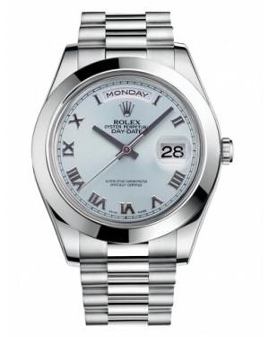 Rolex Day Date II President Platine Glace Bleu Cadran218206 IBLRP