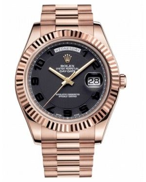 Rolex Day Date II President Rose Or Noir concentric Cadran218235 BKCAP